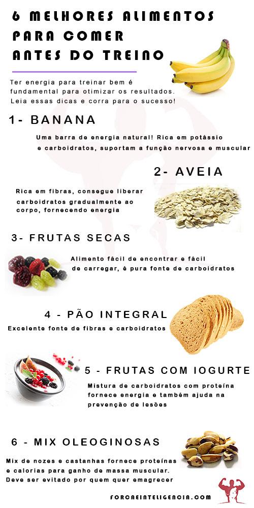 O que comer antes e depois do treino - infografico