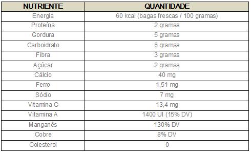 Tabela nutricional açaí